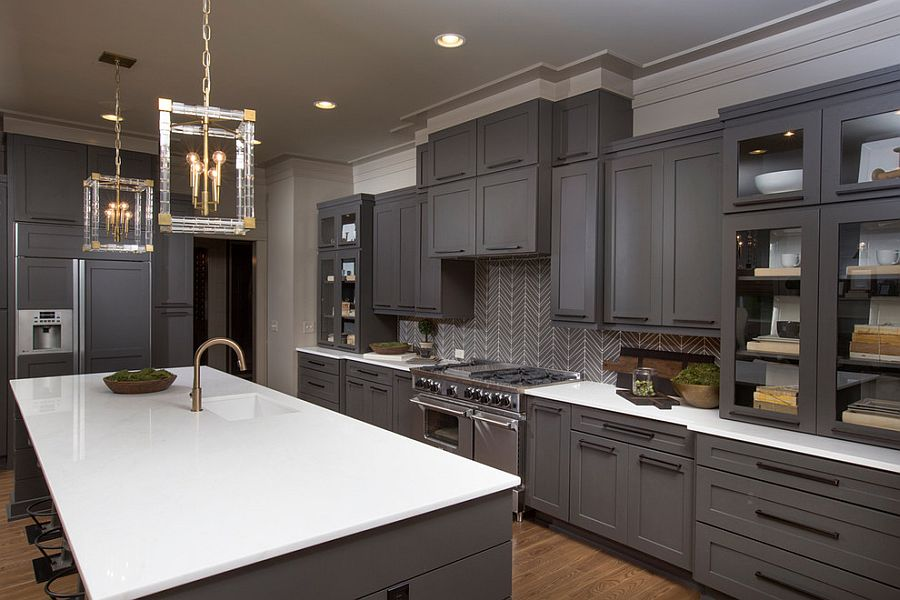 Gray Kitchens ... exquisite gray kitchen with sparkling pendant lighting [design:  romanelli u0026 hughes MTZAFZQ